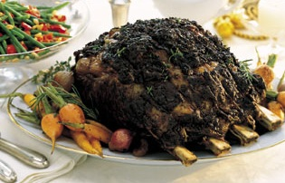 Standing Rib Roas with Rosemary-thyme crust