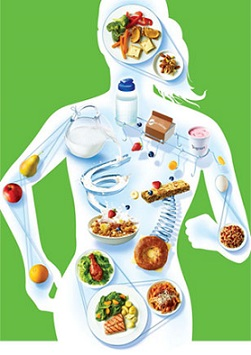 illustration with a silhouette of a woman running with different food nutrition chart foods overlayed
