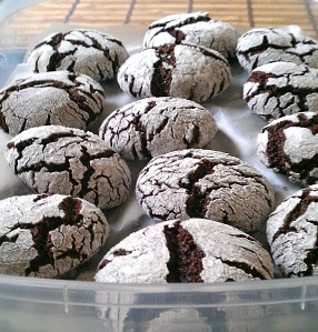 Chocolate Crinkle Cookies arranged in a plastic tupperware