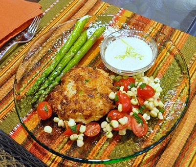 Crab Cakes with Tomato Corn Salad