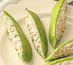 Stuffed Snow Peas with Crab