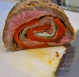 Sliced Stuffed Flank Steak