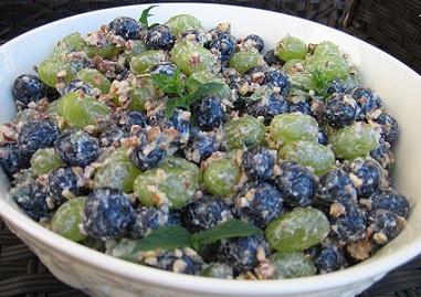 Grape Ambrosia Salad from the grape recipe collection in a white bowl