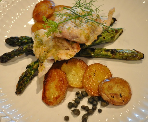 Grilled fish with baby potatoes asparagus recipe whats for How to cook fish on the grill