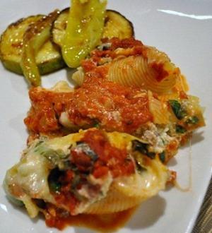 Plated Mediterranean Stuffed Shells