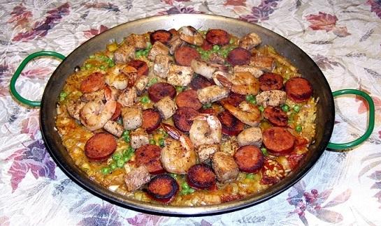 Spanish Mixed Paella Valenciana Recipe Whats Cooking America