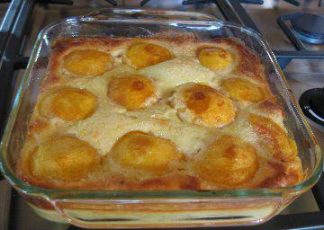 Baked Peach Custard