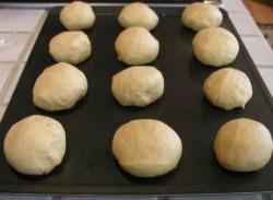 Dough rounds of pumpkin rolls