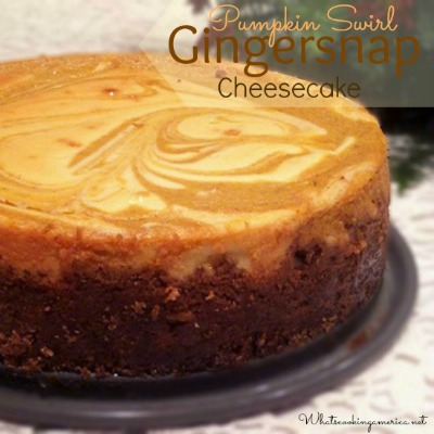 Pumpkin Swirl Gingersnap Cheesecake