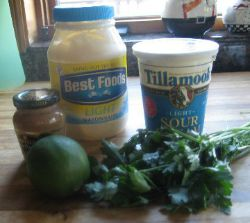 Ingredients for salmon with dill sauce