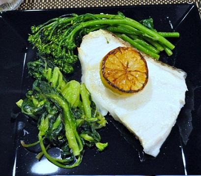 Sea Bass With Broccolini On Himalayan Salt Block Himalayan Salt