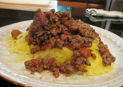 Spaghetti Squash with Italian Meat Sauce