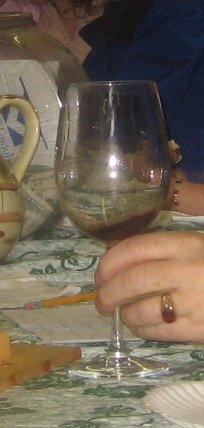 Swirling wine in wine glass