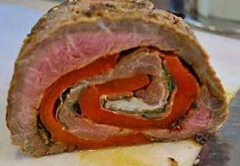 Rolled and cut stuffed flank steak