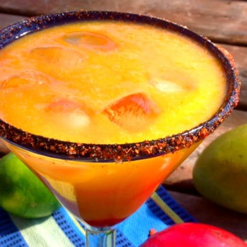 close up image of Fresh Mango Margarita in margarita glass