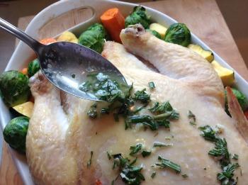 Rosemary garlic chicken adding basting