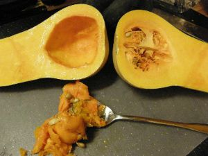 Butternut Squash cut and seeds removed