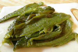 Sliced roasted Poblano Chile Pepper