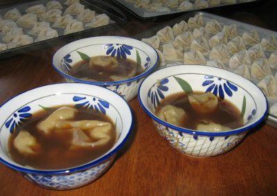 Three Bowls of Shrimp Pork Won Tons