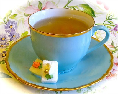 Aqua teacup with Rose sugars Ellen Easton sm