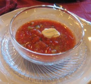 Bowl of Gazbacho Soup