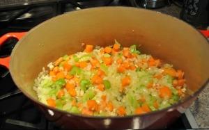 Saute vegetables for Italian Vegetable Soup