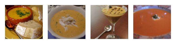 Four images of Turkey Dinner Menu Soup Course ideas