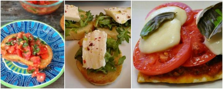 Bruschetta, Canape, and Crostini