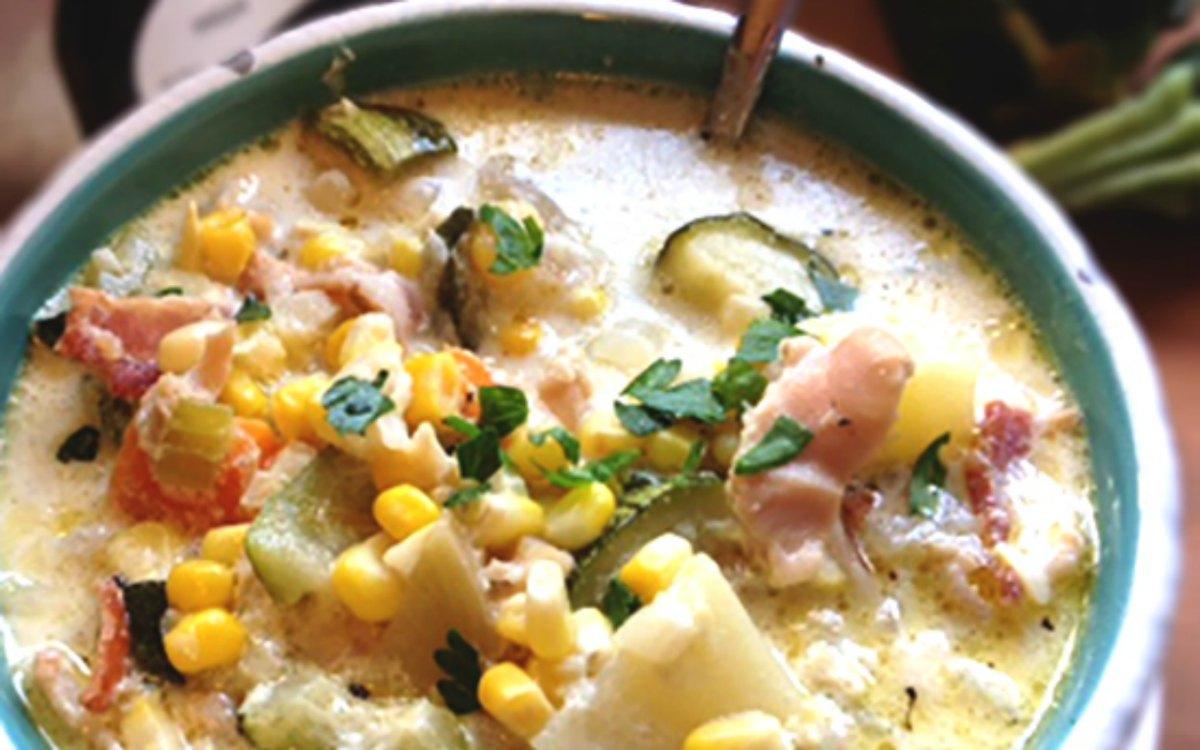 Zucchini Corn Clam Chowder Soup Recipe ...