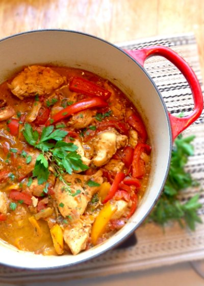 Chicken Stew with Peppers and Tomatoes - Poulet Basquaise