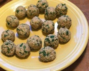 Matzo Ball prep-forming matzo balls