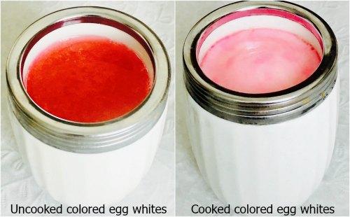 Colored egg whites cooked egg coddler