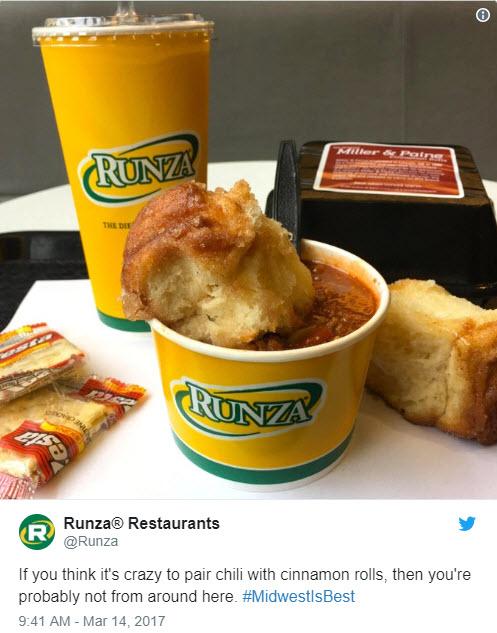 Runza Twitter post for Chili and Cinnamon Rolls
