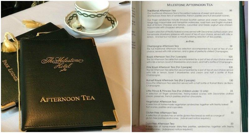 Milestone Hotel Afternoon Tea Menu